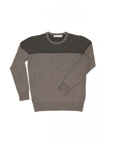 Maglione righe in lana uomo Marlowe Grigio chiaro