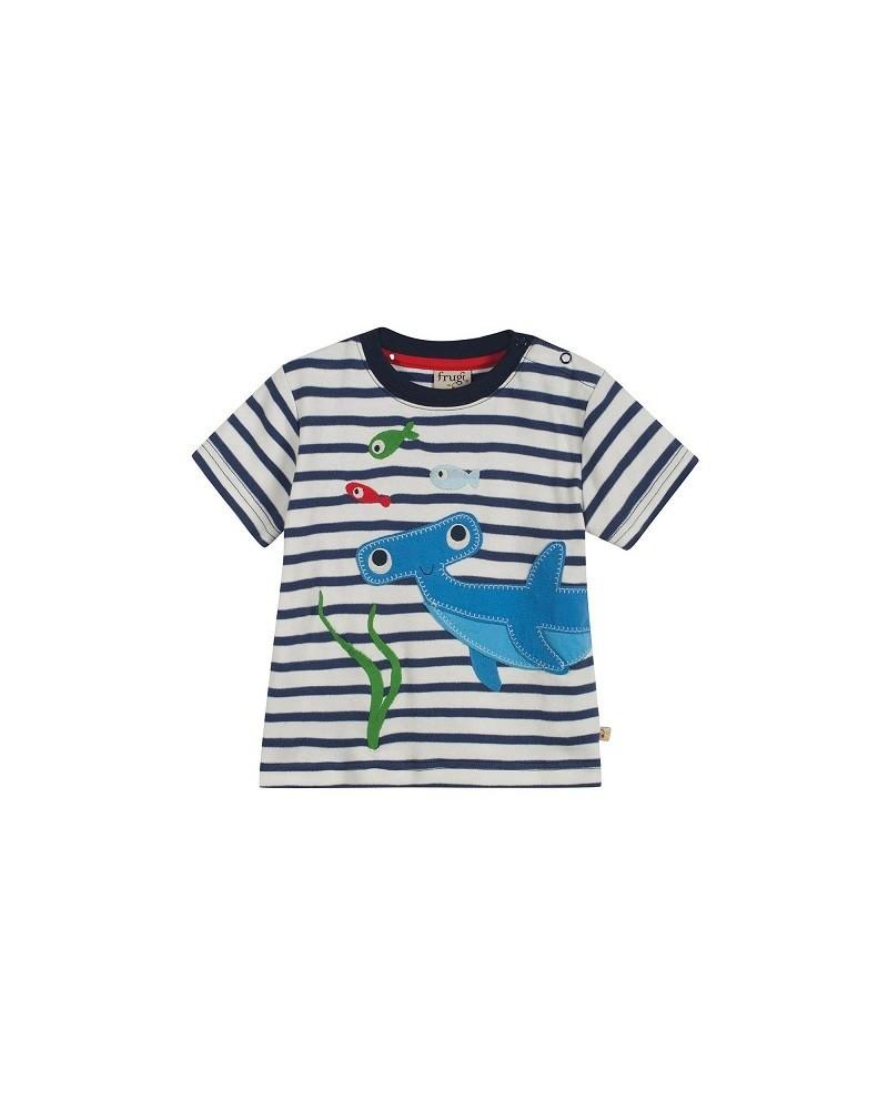 T-shirt Frugi con righe bianco e blu