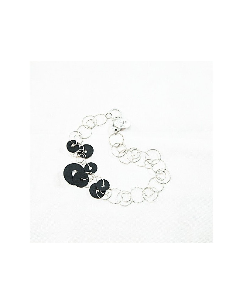 Collana Anele nera. Catena ad anelli con fibra di cellulosa. Nickel free.