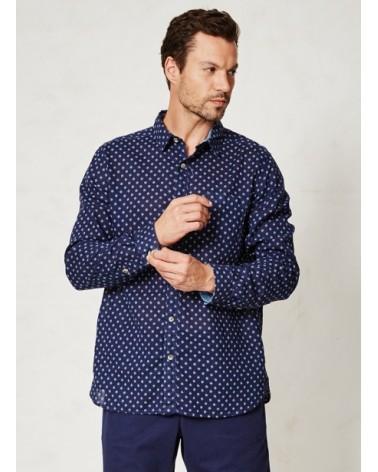 Camicia uomo blu in canapa e cotone biologico mod Omar