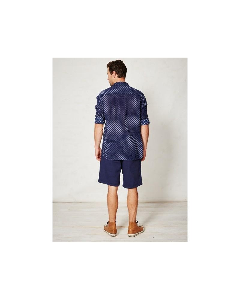 Camicia uomo blu in canapa e cotone biologico Omar Braintree.
