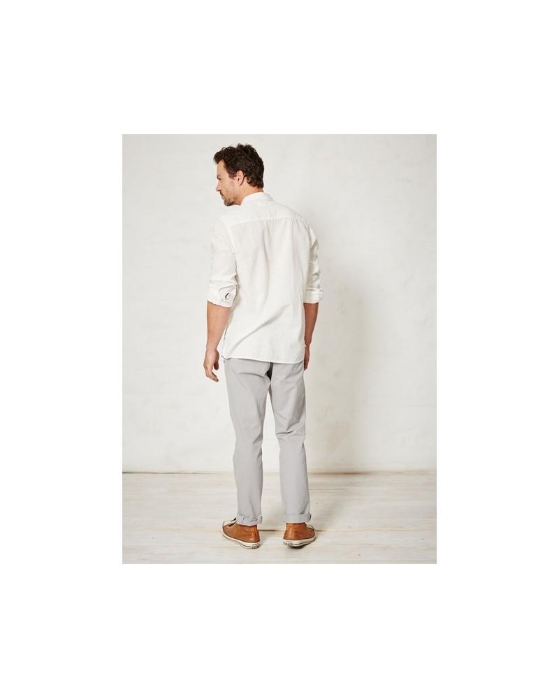 Camicia uomo in canapa e cotone biologico Olaf Braintree. Bianco