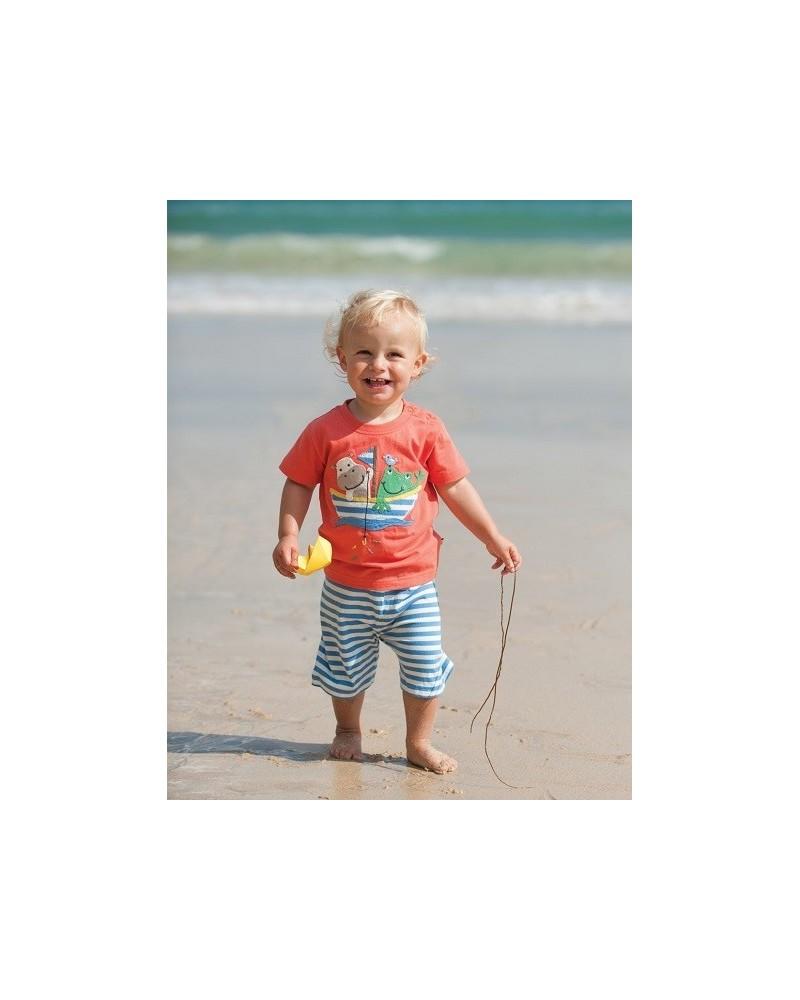 Completo per bambino in cotone biologico t-shirt e bermuda Frugi