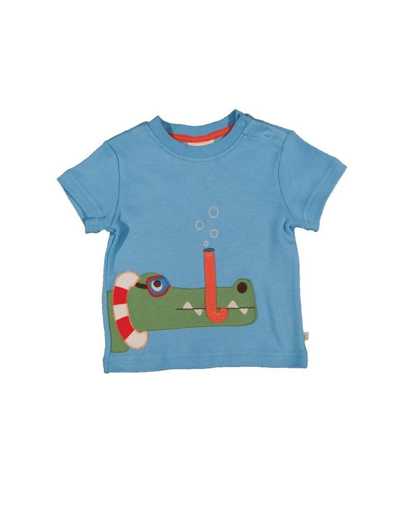 T-shirt in cotone organico per bambino Frugi con coccodrillo