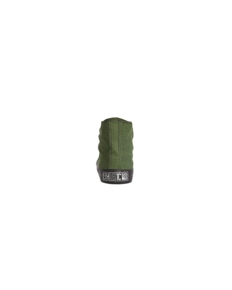 Scarpa vegan Ethletic in cotone biologico GOTS e gomma naturale FSC Verde e nero Alto