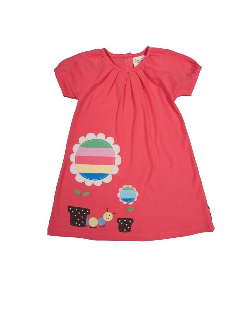 Vestito Frugi per bambina tinta unita in cotone organico