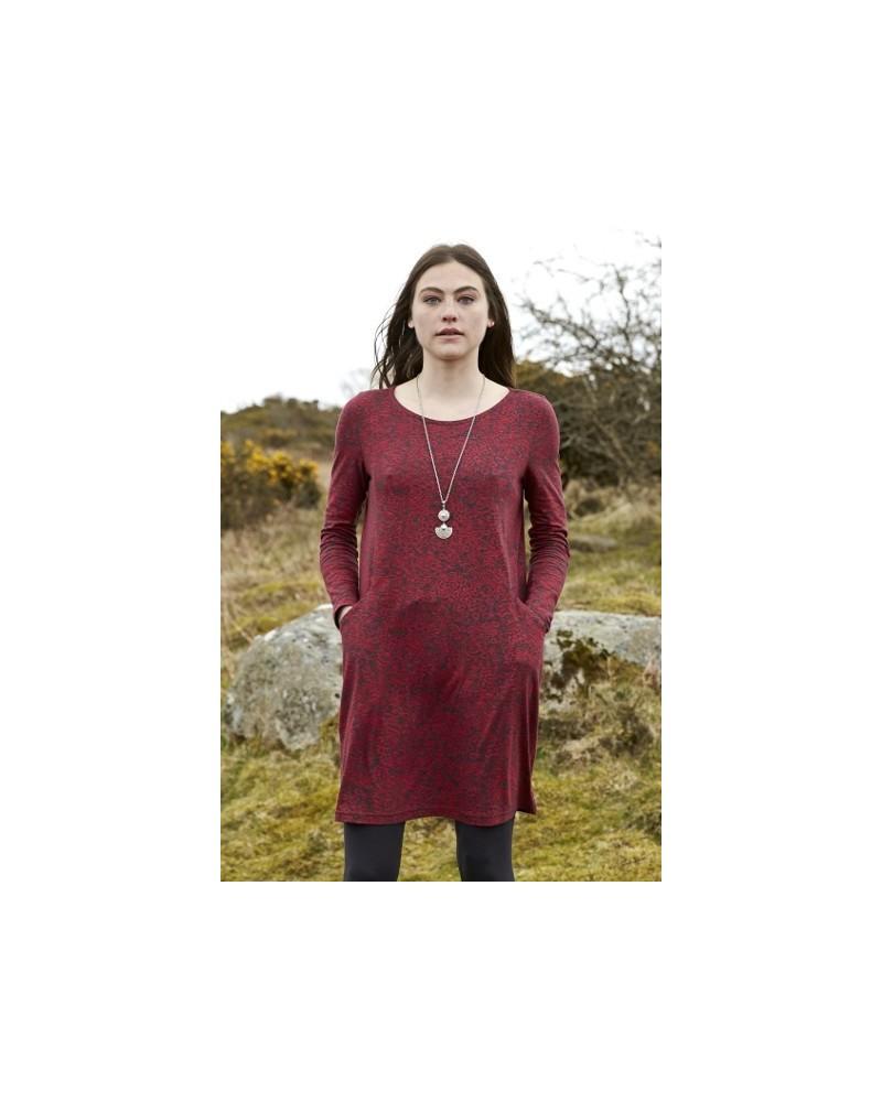 Vestito manica lunga con tasche in cotone biologico rosso