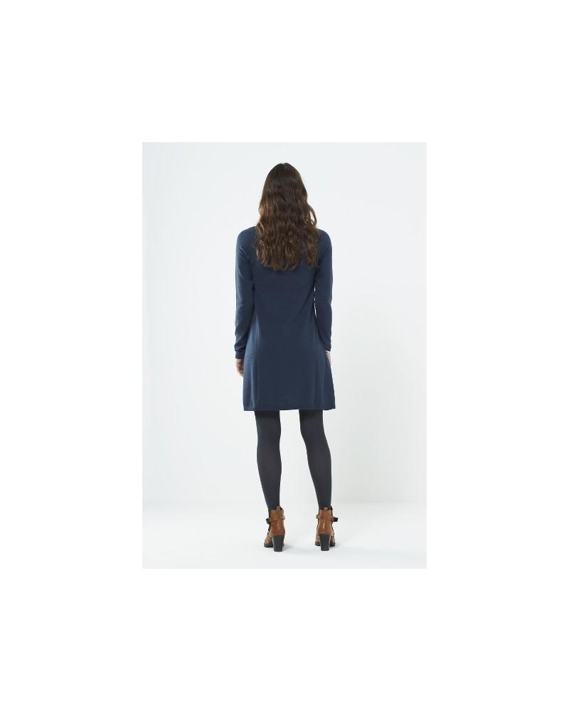 Vestito tunica manica lunga in lana e cotone blu ardesia