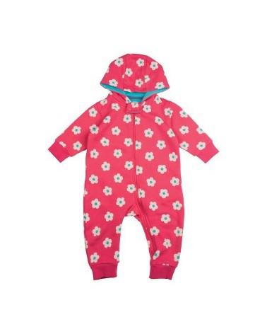 Tutina calda con cappuccio per bambina in cotone organico mod. Snuggle fiori