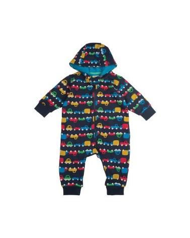 Tutina calda con cappuccio per bambino in cotone organico mod. Snuggle macchine
