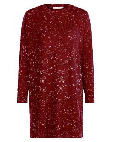 Vestito manica lunga in lana merino rossa con scollo tondo mod Ginie