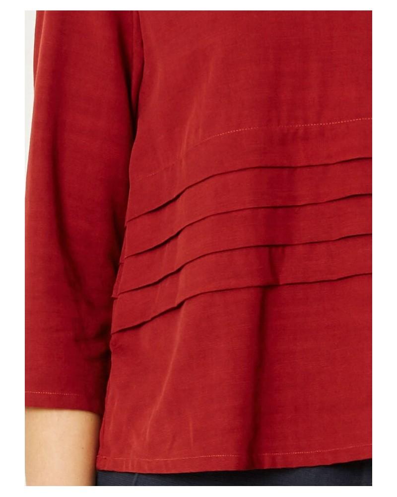 Maglia donna manica ¾ donna in tencel e cotone bio, Rosso