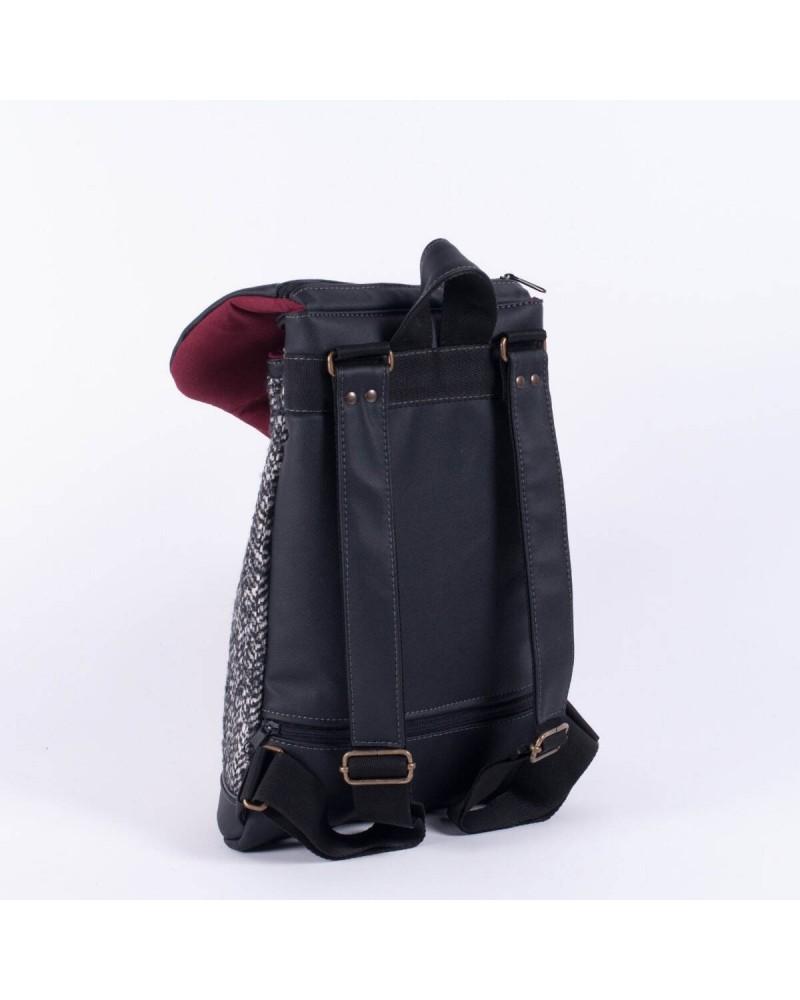 Zaino donna in ecopelle nera e lana Mini