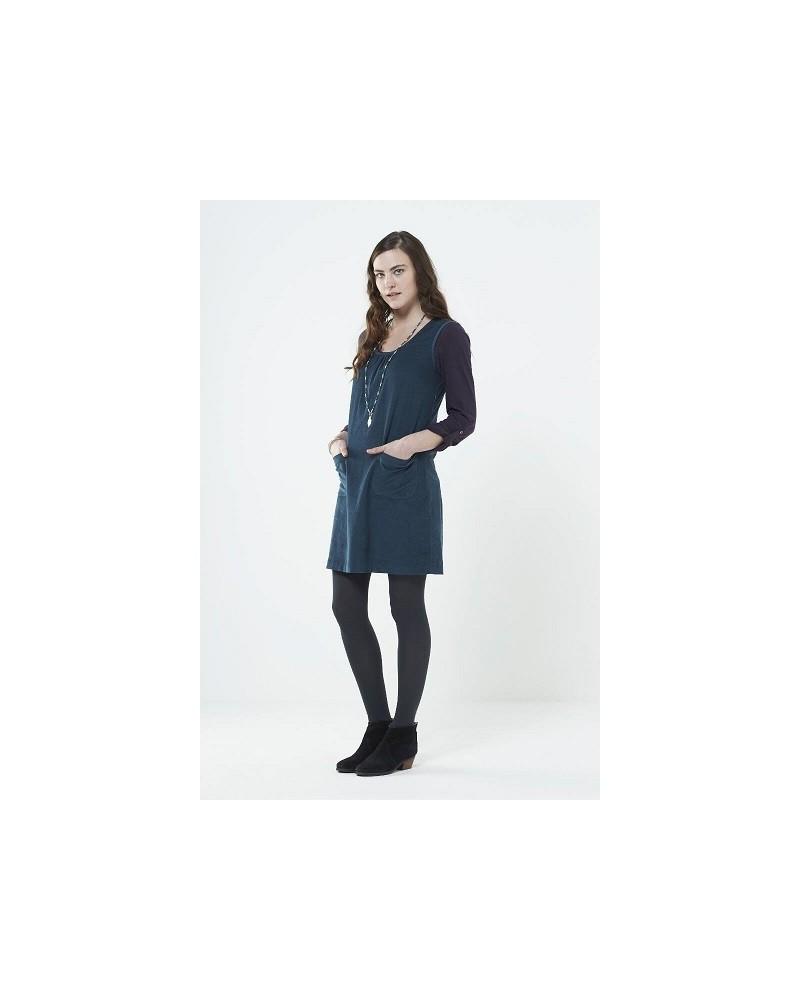 Vestito smanicato in vellutto di cotone Blu ardesia