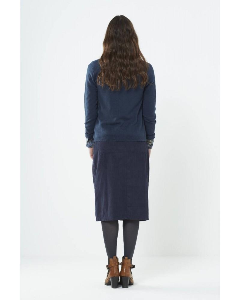 Cardigan corto con bottoni in lana e cotone Blu ardesia
