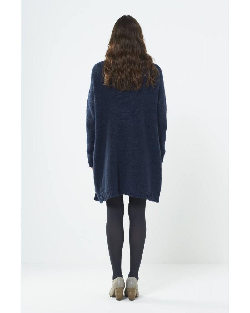 Cardigan lungo in lana Blu ardesia