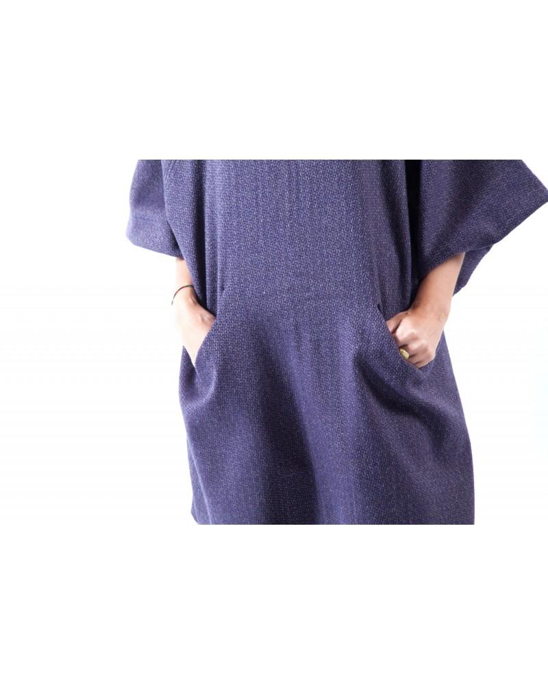 Abito sartoriale con tasche in lana MAXI Viola Made in Italy
