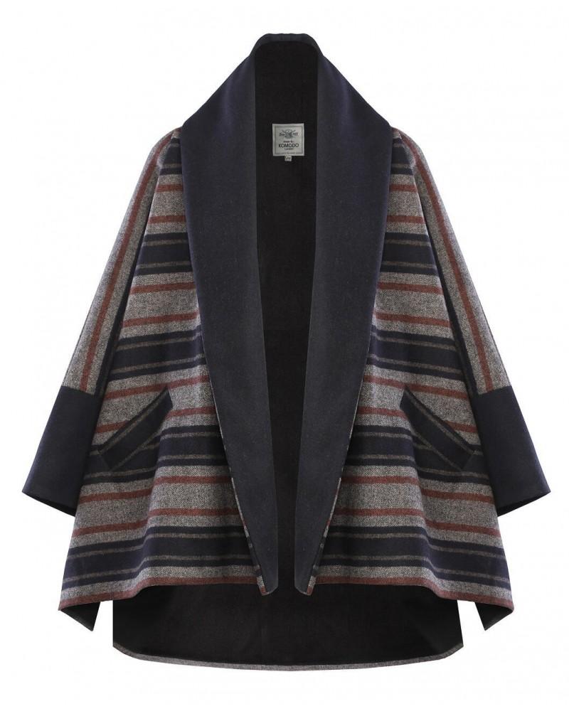 Cappotto donna righe in lana e poliestere riciclato mod Manchu Komodo