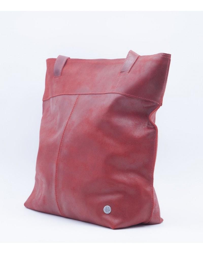 Borsa in pelle mod Perfeita rossa Commercio equo
