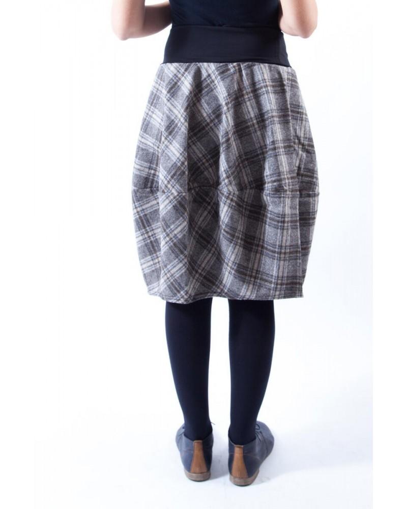 Gonna sartoriale in lana Made in Italy Quadri