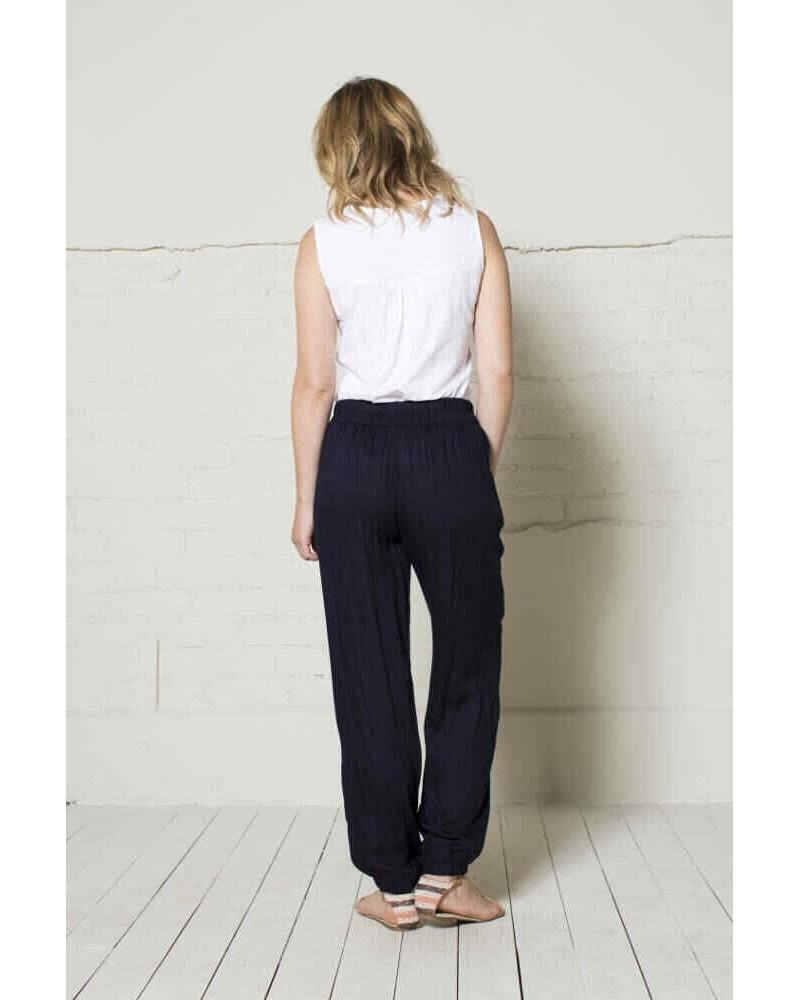 Pantaloni con coulisse in morbida viscosa blu notte