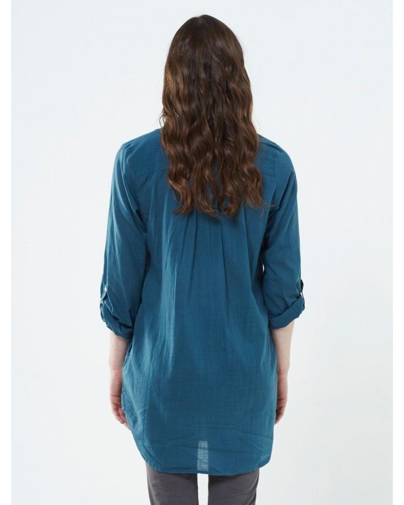 Camicia lunga in cotone blu baltico