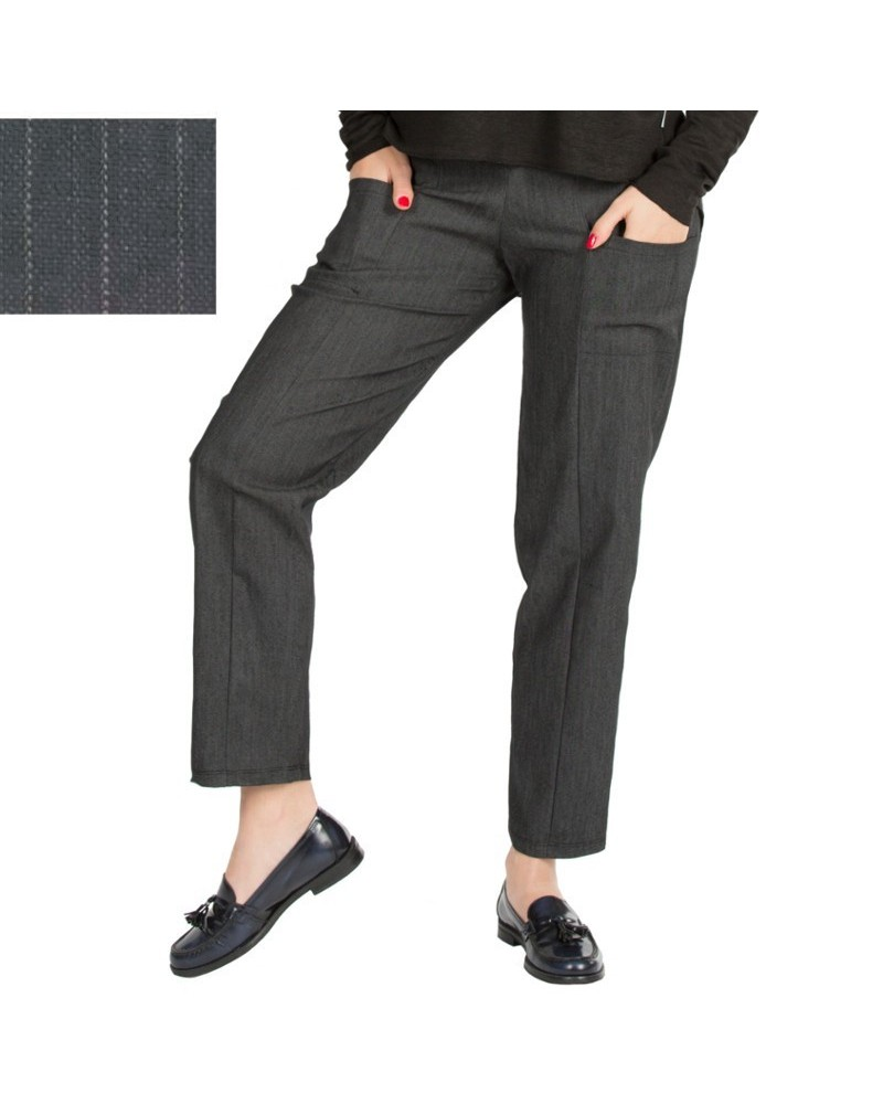 Pantalone sartoriale in cotone e lino con fascia elastica. Made in Italy