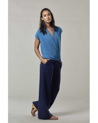 Pantalone a palazzo in tencel e lino blu Komodo