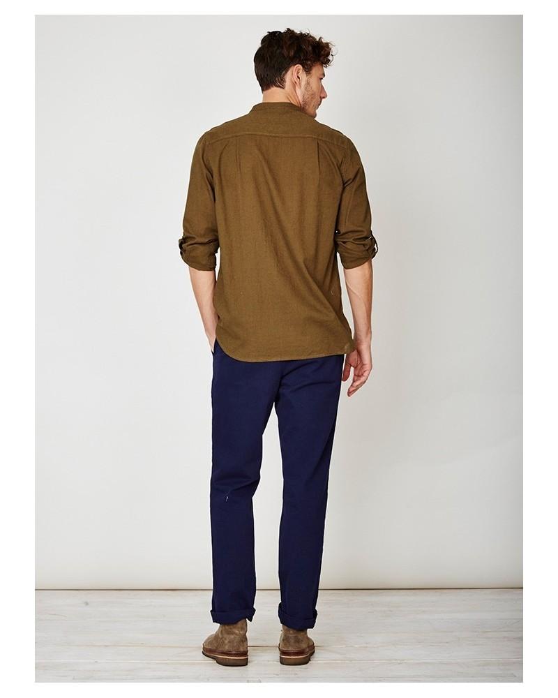 Camicia coreana uomo in canapa e cotone bio verde. Thought Braintree