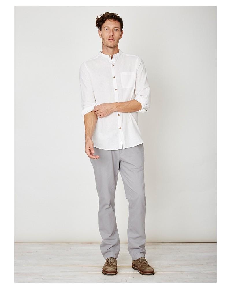 Camicia uomo coreana in canapa e cotone bio avorio. Thought Braintree