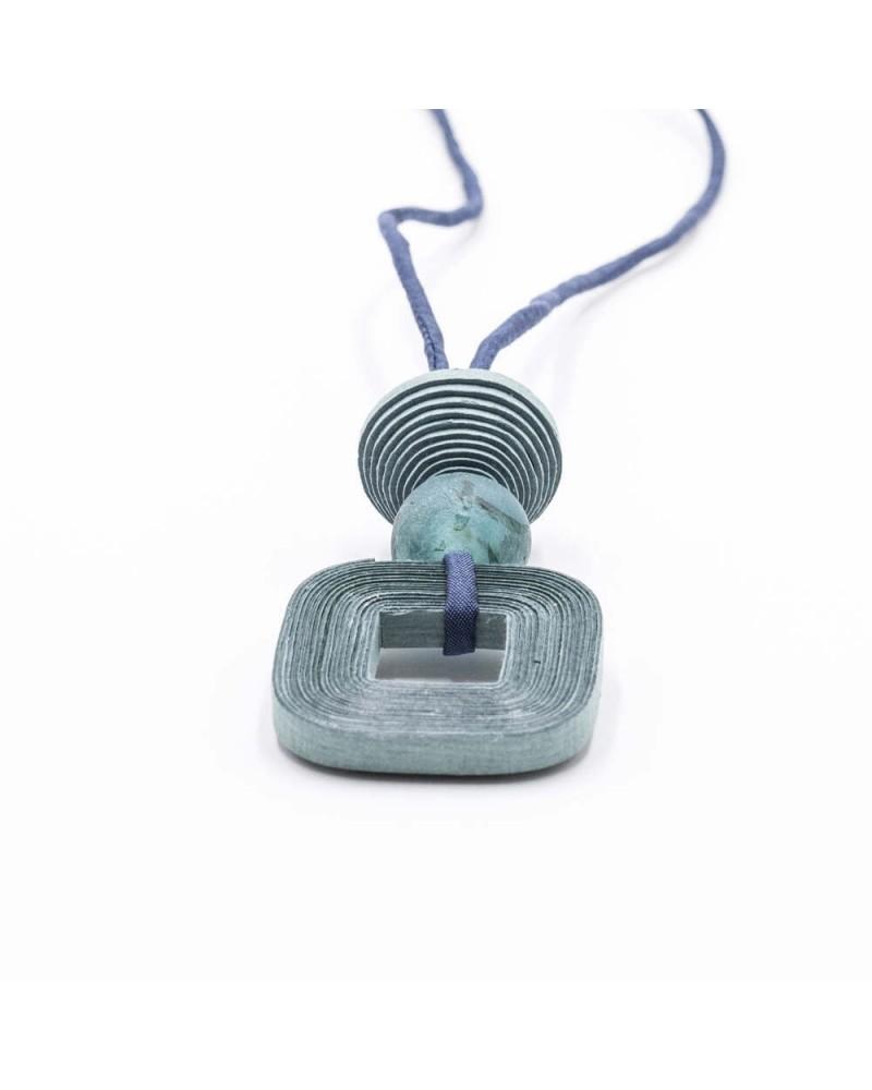 Collana lunga in cotone, seta e vetro riciclato Carta da zucchero