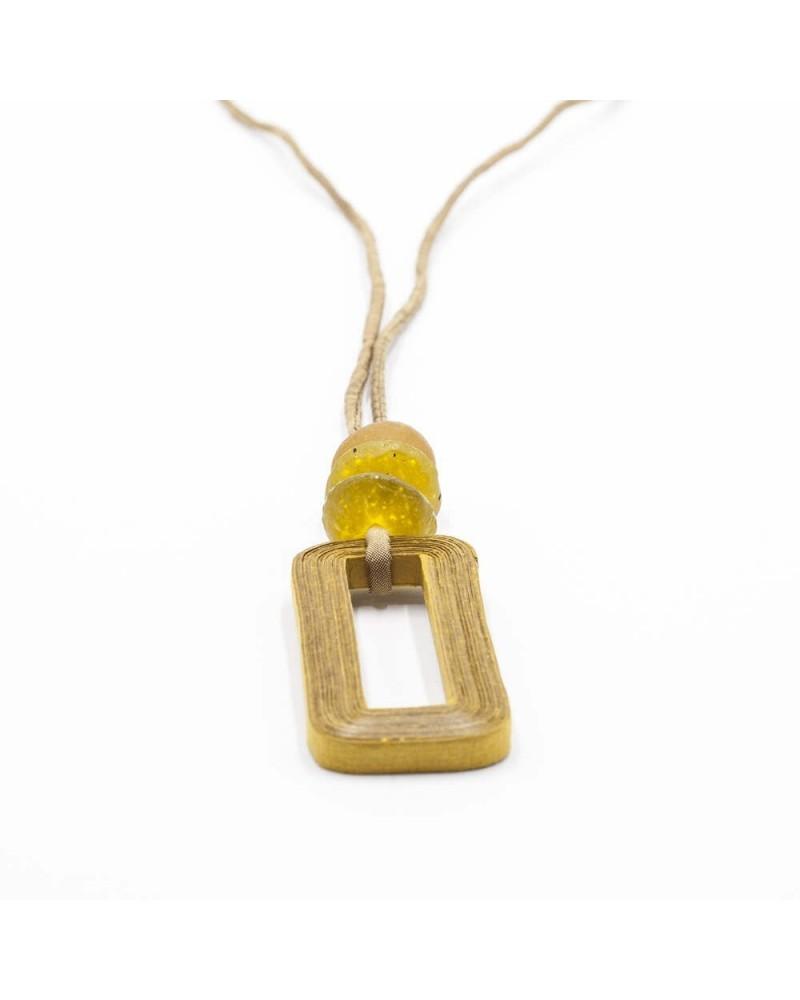 Collana lunga in cotone, seta e vetro riciclato Ocra
