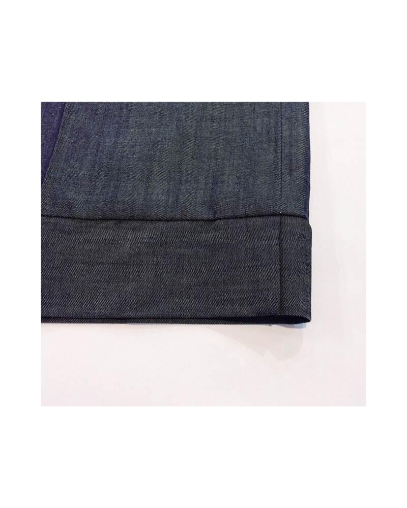Pantalone sartoriale donna con fascia denim.