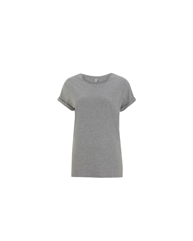 T-shirt donna in cotone bio maniche risvoltate