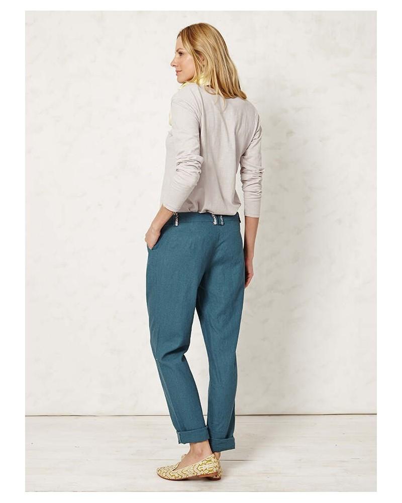 Pantaloni in cotone organico e canapa. Verde petrolio