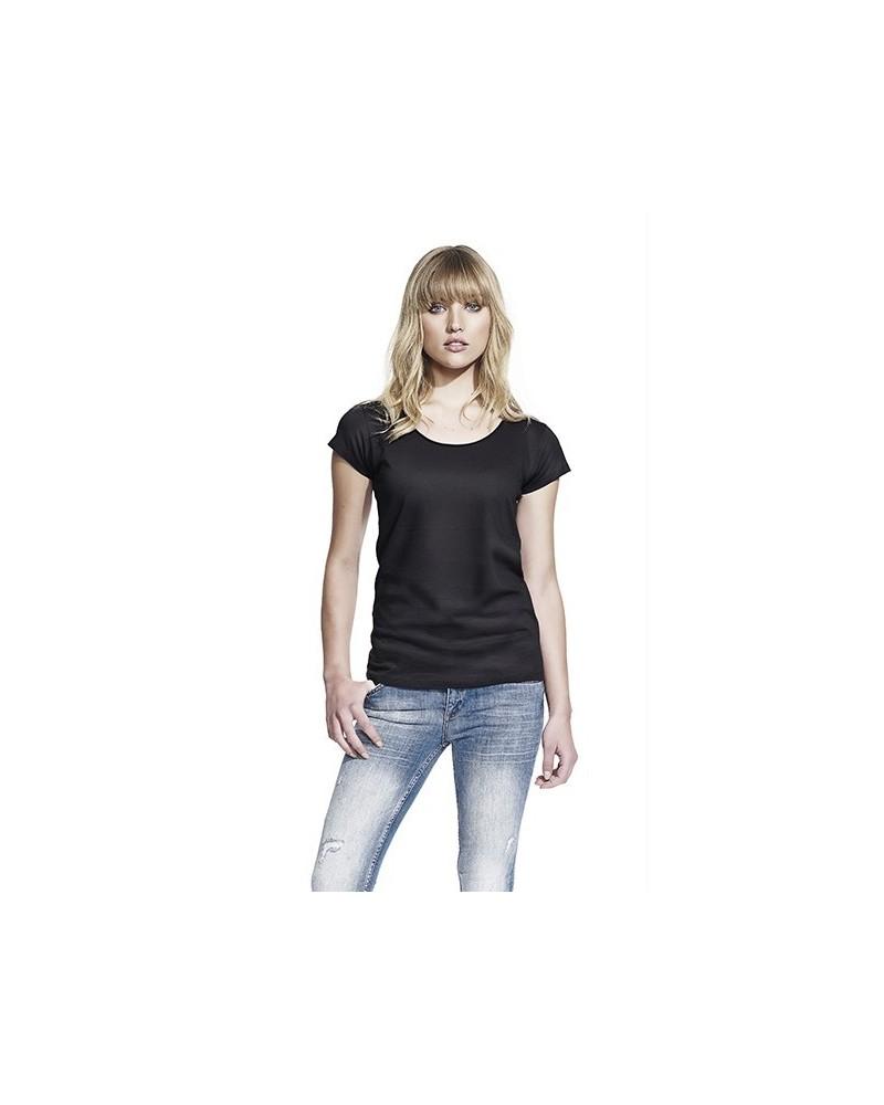 T-shirt donna taglio vivo in cotone bio bianco