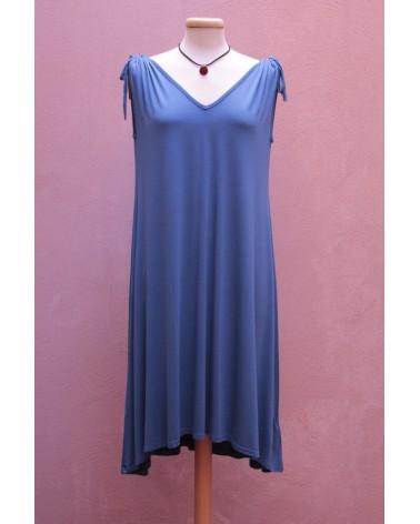 Vestito a V in bambù Blu Komodo