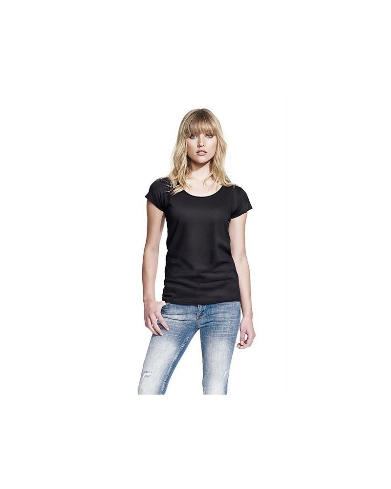 T-shirt donna taglio vivo in cotone bio nero