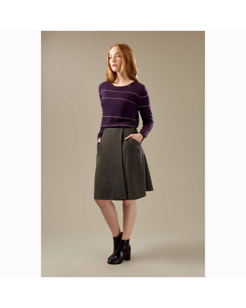 Maglione donna in lana viola lurex