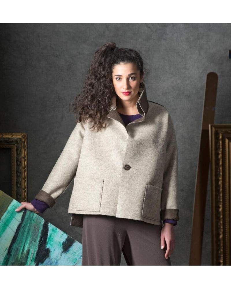 Giacca donna in lana double face rosso-grigio