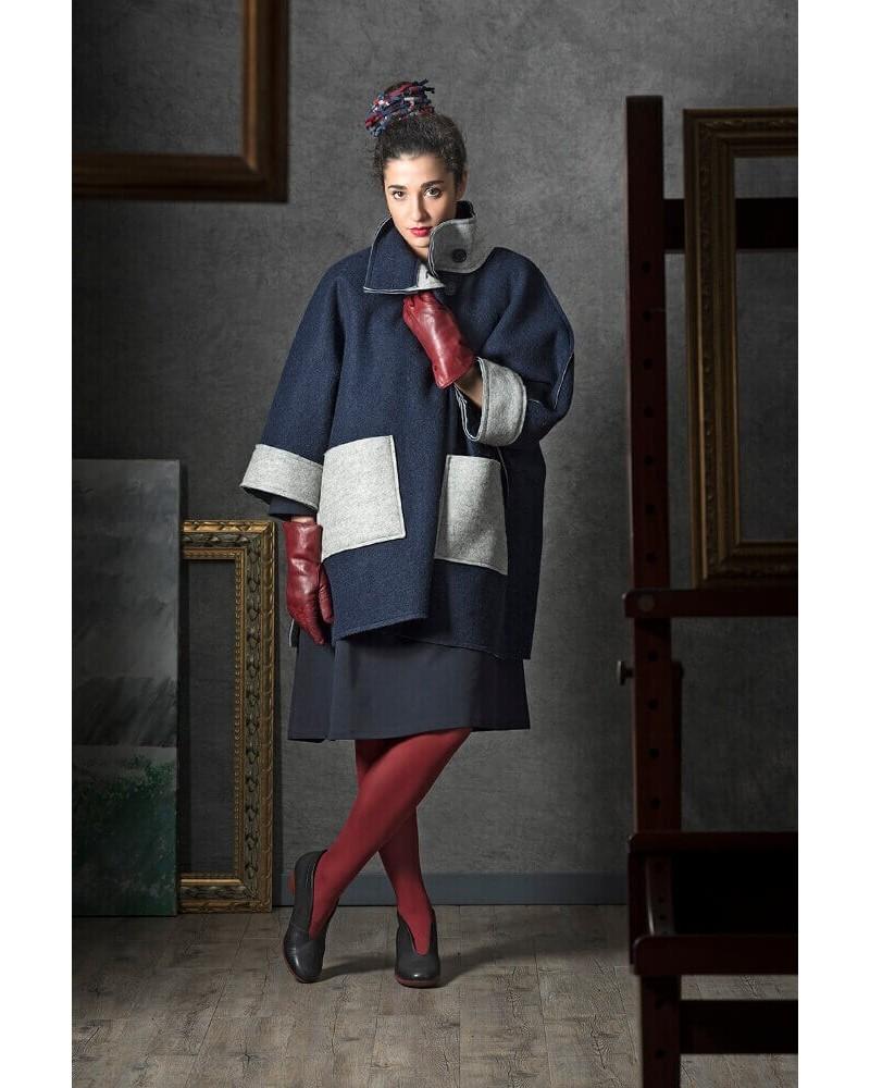 Cappotto donna in lana double face blu-grigio