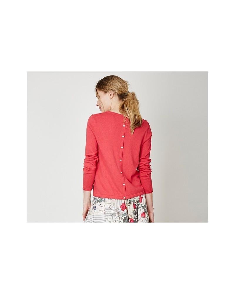 Maglia donna rosso geranio manica lunga in cotone rosso geranio
