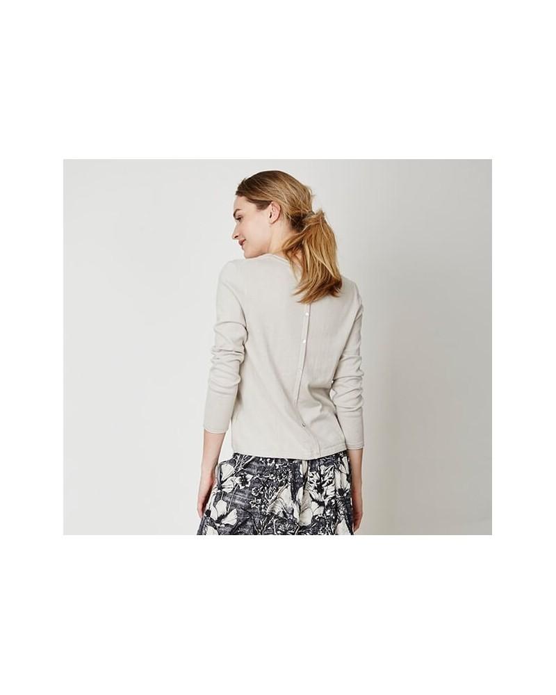 Maglia donna manica lunga in cotone e lana stone