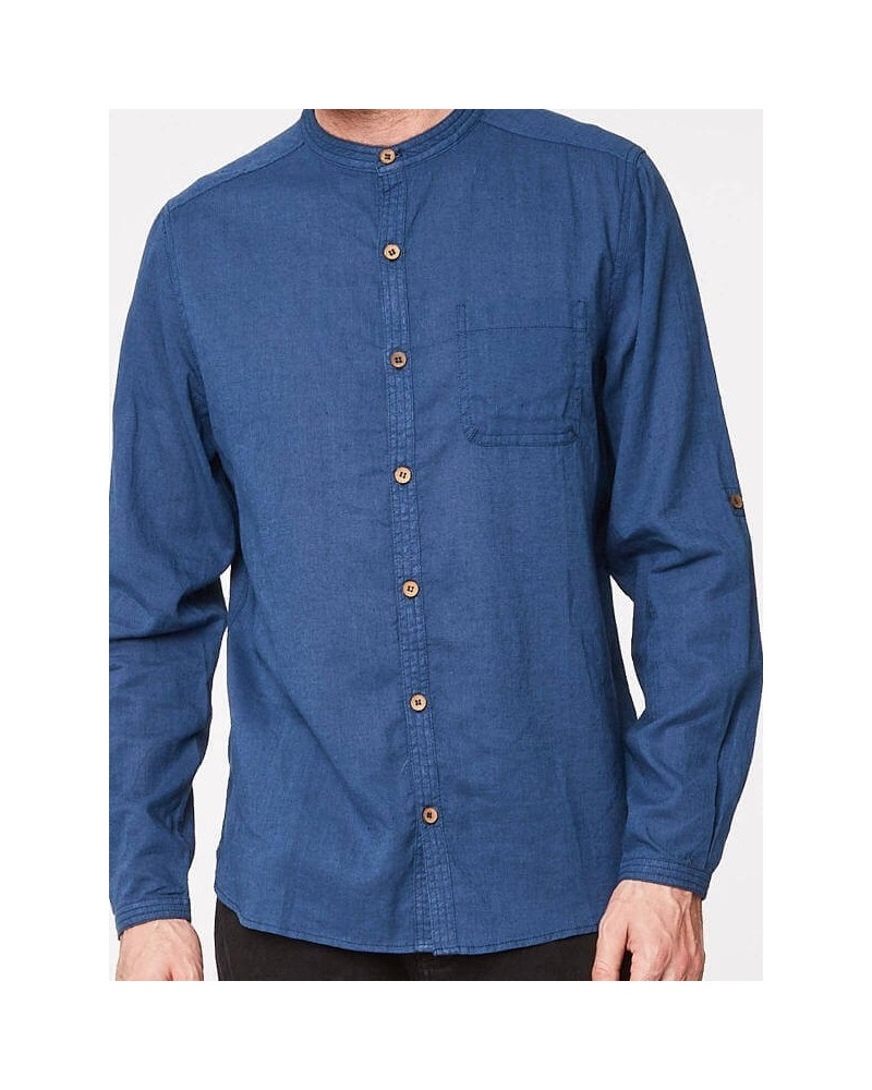 Camicia uomo coreana in canapa e cotone bio blu. Thought Braintree