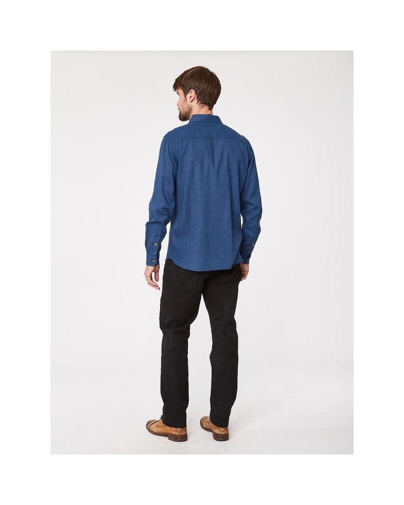 Camicia uomo in canapa e cotone bio blu Thought
