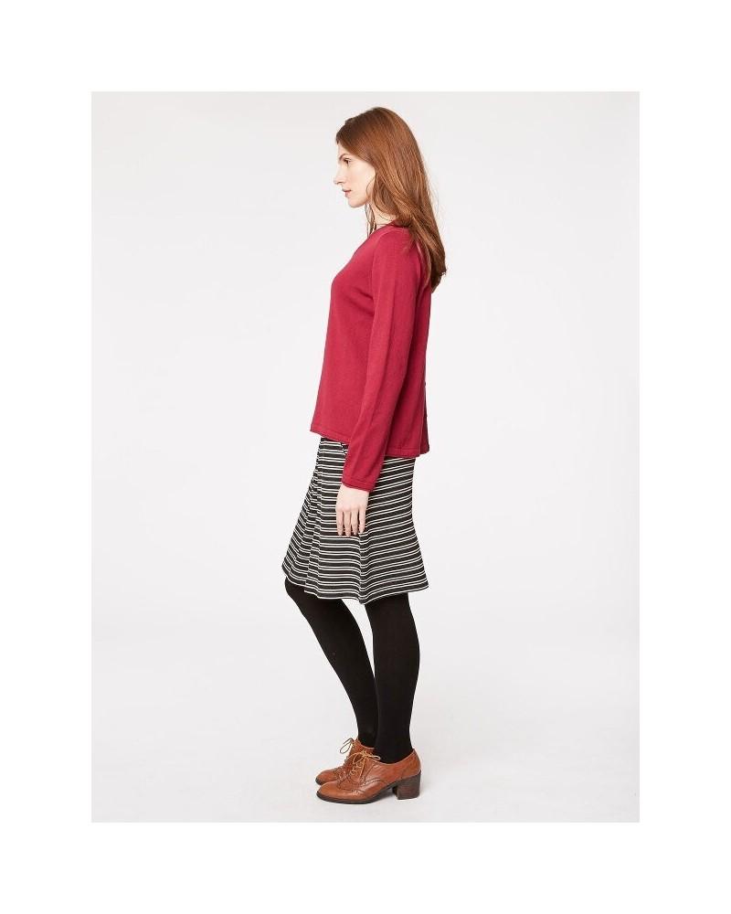 Maglia donna magenta manica lunga in cotone e lana.