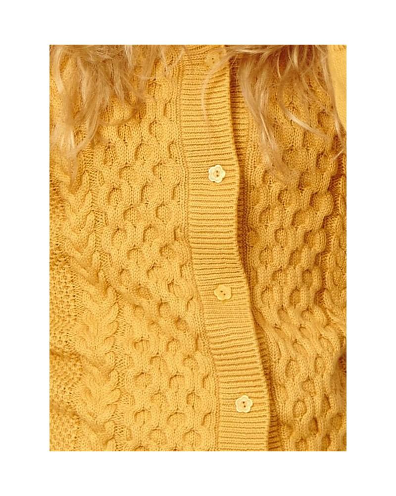 Cardigan donna in cotone e lana Braintree Ocra
