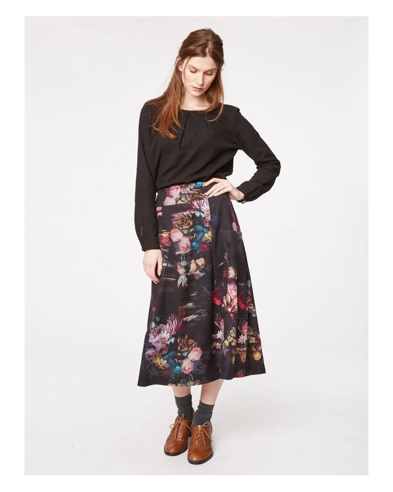 Gonna nera floreale in tencel. Thought