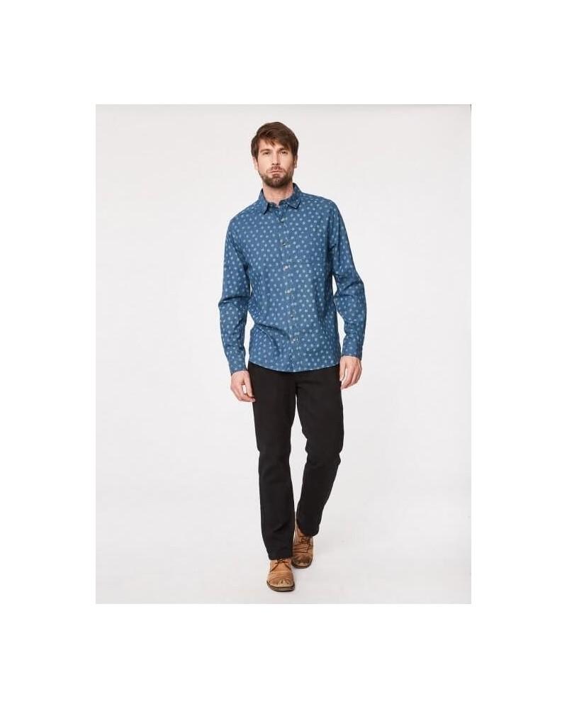 Camicia uomo in cotone blu denim.