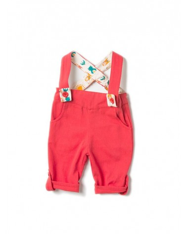 Salopette pantaloni in cotone biologico equosolidale. Rossa